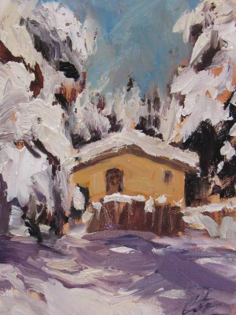 Nana's Cottage 5x7 plein aire oil by Gretchen Lopez web
